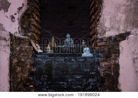 Buddha Statues In A Temple Of Tissa