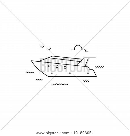 Yacht vector thin line icon. Black on white isolated symbol. Logo template, element for sea journey, travel agency products, tour brochure, excursion banner. Simple mono linear modern design.