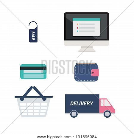 E-commerce icons set vector.Computer with price tag credit card wallet cart and delivery car