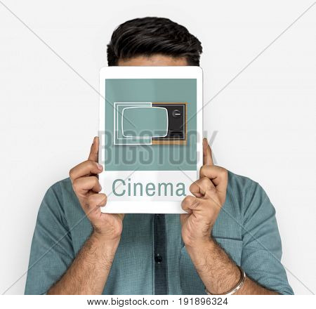 Illustration of recreation media entertainment TV on digital tablet