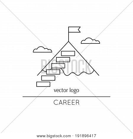 Vector thin line icon, stairs to the mountain top. Metaphor of achieving goals and career. Black on white isolated symbol. Career growth, achievement and aspiration. Simple mono linear modern design.