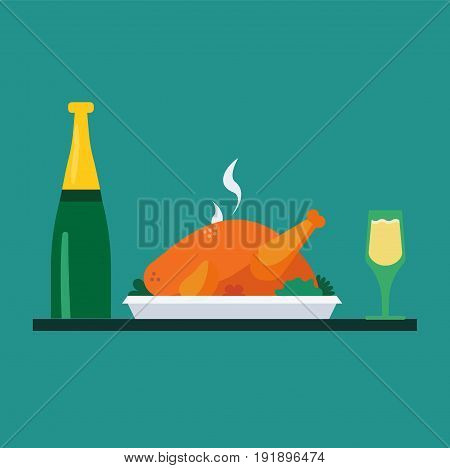 turkey on plate with wine bottle and glasses of wine traditional christmas and thanksgiving food. Vector.