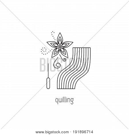 Quilling vector thin line icon. Flower, awl and quilling paper. Colored isolated symbol. Logo template, element for business card or workshop announcement. Simple mono linear modern design.