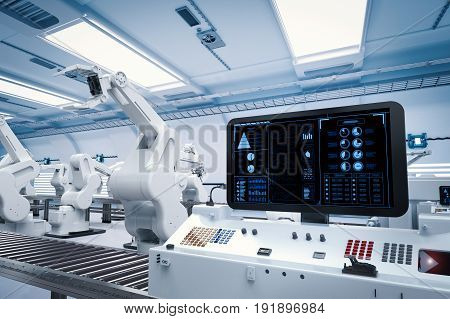 3d rendering control panel screen with robotic arms