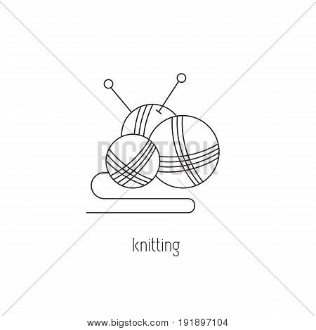 Knitting vector thin line icon. Tangles and knitting needles. Colored isolated symbol. Logo template, element for business card or workshop announcement. Simple mono linear modern design.