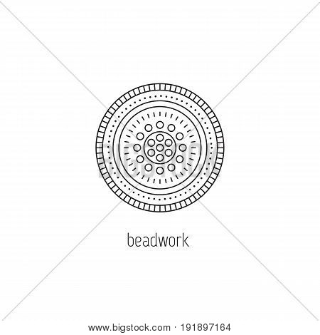 Beadwork vector thin line icon. Mandala, beaded pattern. Colored isolated symbol. Logo template, element for business card or workshop announcement. Simple mono linear modern design.