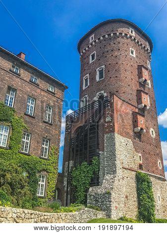 Fragment of the Royal Wawel Castle in Krakow, Poland.