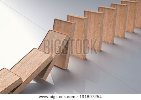 3d rendering wooden dominoes falling or collapse