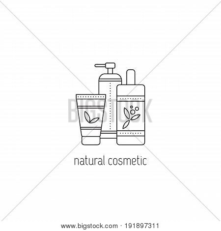 Natural cosmetics vector thin line icon. Organic cream, lotion, balm. Isolated symbol. Logo template, element for business card or workshop announcement. Simple mono linear modern design.