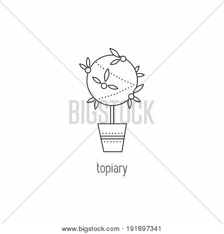 Topiary vector thin line icon. Handmade tree of happiness. Black on white isolated symbol. Logo template, element for business card or workshop announcement. Simple mono linear modern design.