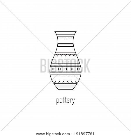 Pottery vector thin line icon. Handmade decorated ceramic jug. Isolated symbol. Logo template, element for business card or workshop announcement. Simple mono linear modern design.