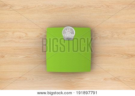 3d rendering weight scale on wooden background