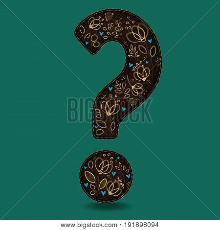 Vintage Dark Brown Question Mark with Golden Floral Decor. Yellow graceful flowers and plants. Blue small hearts. Green background. Vector Illustration