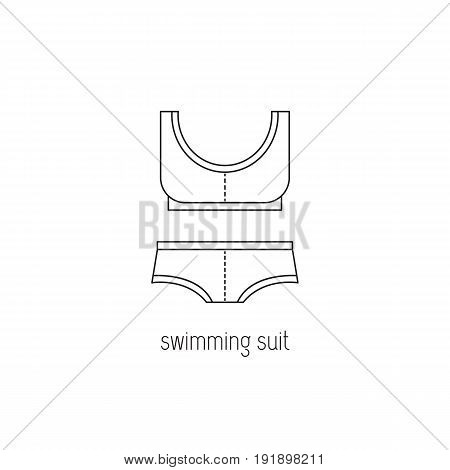 Swimming suit vector thin line icon. Isolated symbol. Logo template, element for summer products, fashion, travel agency brochure, banner. Simple mono linear modern design.