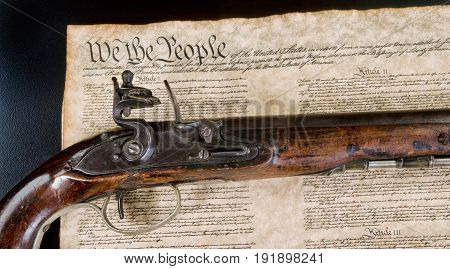 We the people with real flintlock pistol.