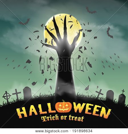halloween monster hand rising from night graveyard