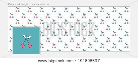 Summer background for social media. Vector bright illustration with cherries. Easy to personalize your online page.