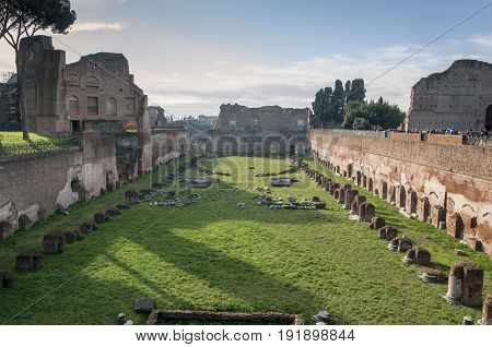 View of the Hippodrome of Domitian on the Palatine Hill, Rome, Italy