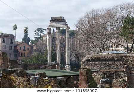 Temple of Castor and Pollux in the Roman Forum Rome Italy