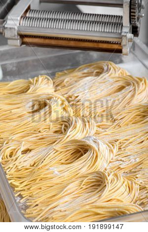 Bundles Of Freshly Made Italian Spaghetti Pasta