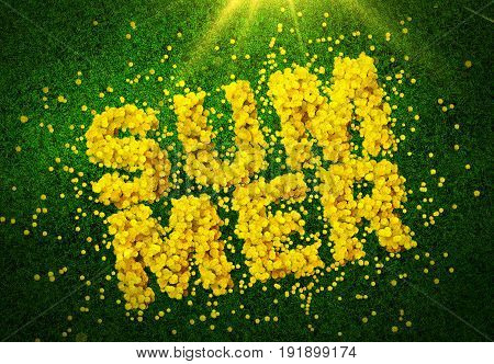 3D render. Dandelions on green grass stacked in the word summer