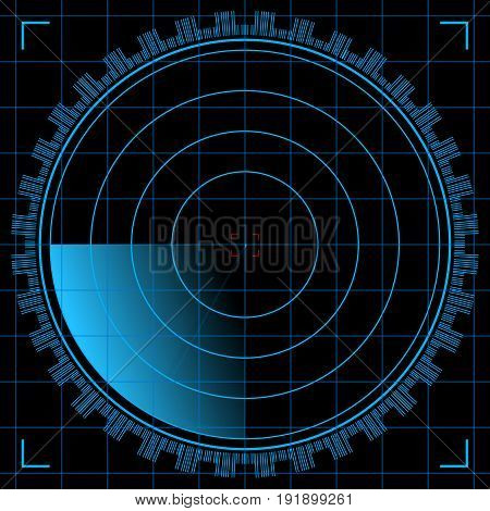 Abstract digital radar screen with world map, targets and futuristic user interface of blue shades