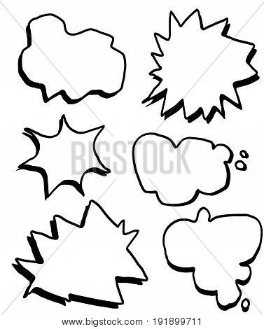 Hand draw comic text boxes vector set