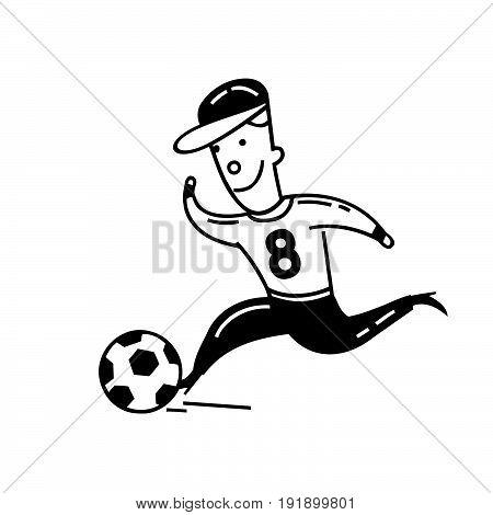 Boy playing football. cartoon character . Vector Illustration design.