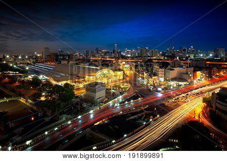 Bangkok city skyline Hua Lamphong station Bangkok railway station Thailand