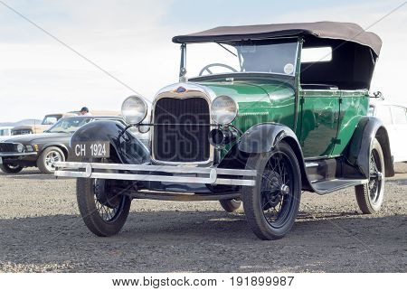 QUEENSTOWN SOUTH AFRICA - 17 June 2017: Vintage Model T Ford car parked at public show in Queenstown