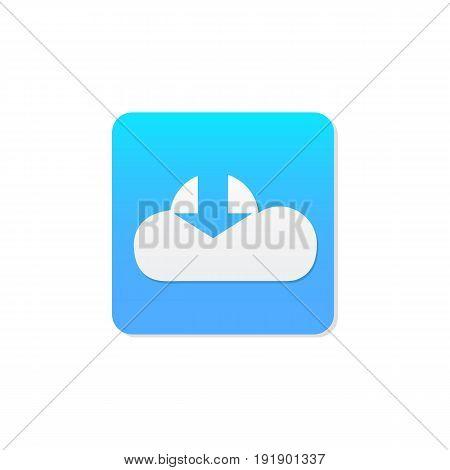 Flat Cloud download icon vector.Download icon vector