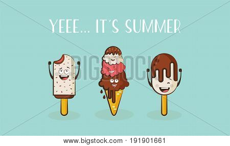 funny ice cream characters with a quote. vector illustration