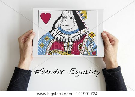 Cards Deck Queen Heart Gender Equality