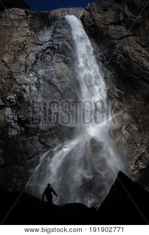 Lower Yosemite Falls, as seen from the Yosemite Valley Floor. Yosemite national Park, California, USA