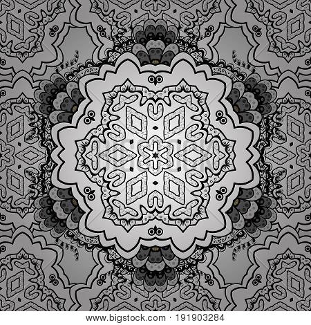 Damask seamless repeating background. Dim floral ornament in baroque style. Dim Sketch on texture background. Dim element on gray background.