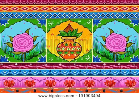 Vector design of Floral Kitsch background in Indian Truck Art style