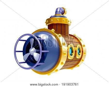 old steampunk vintage wooden submarine back view isolated on white. 3d illustration