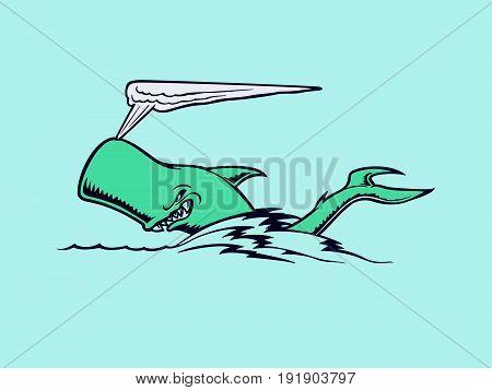 Shark swimming. Animal cartoon . Vector Illustration design