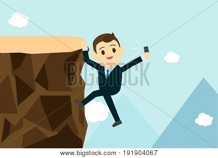 Young business man climb the hill to take selfie.Business get risk but it's so relax concept.Vector illustration