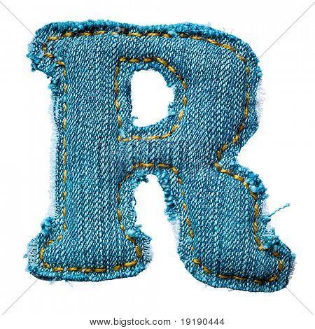 handgemachte Buchstaben des Alphabets jeans