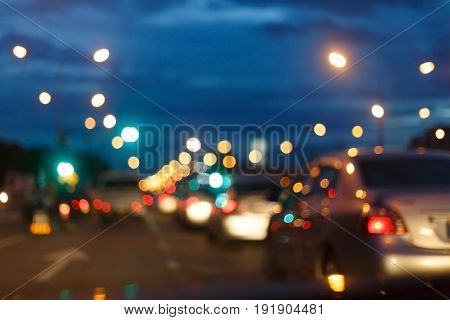 Night Light Of Traffic Car On The City Street, Abstract Blur Bokeh Background