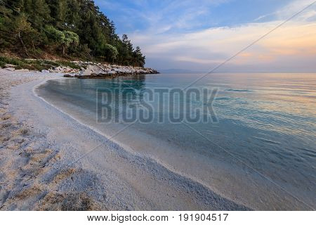 Porto Vathy Marble Beach in Thassos Islands Greece