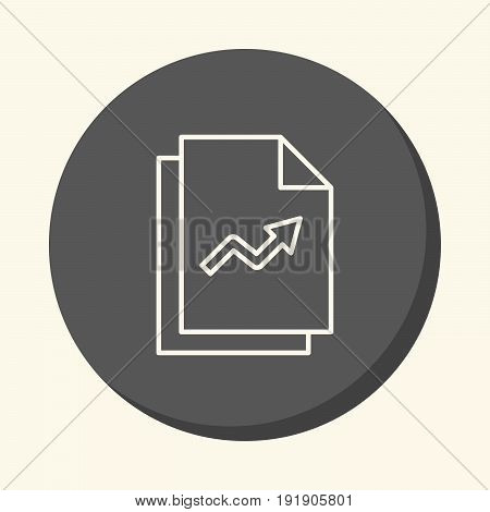 Vector image of a stack of papers with graphs a round line icon with an illusion of volume a simple color change