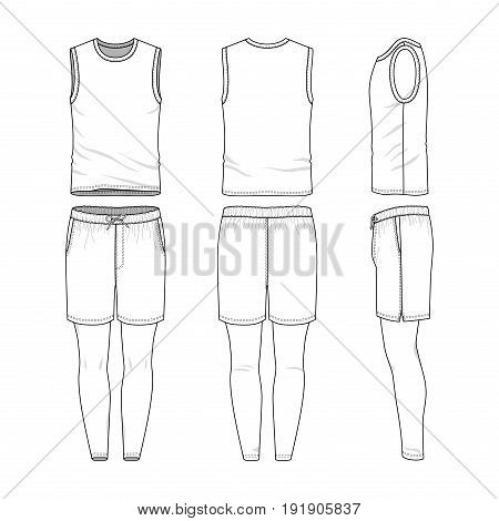 Vector templates of clothing set. Front, back, side views of blank vest, sports shorts, jogging pants. Sportswear, uniform clothes. Fashion illustration.