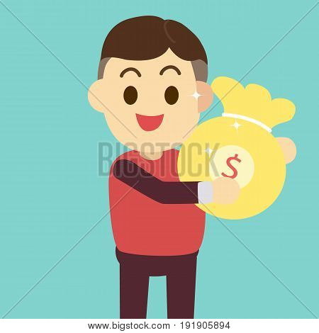 Man get money bag vector illustrationRich man concept.flat cartoon design.