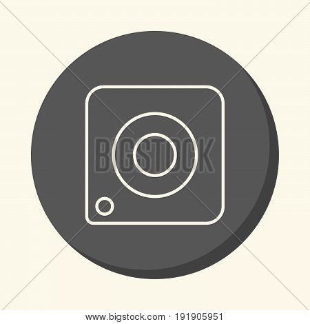 Vector image of the camera a round linear icon with the illusion of volume a simple color change
