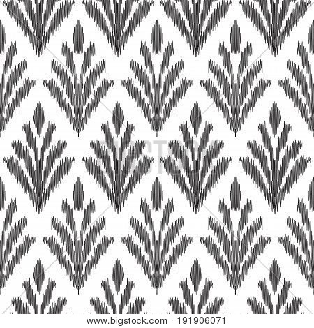 Seamless pattern with stylish leaves. Fancy textile design. Vector illustration in white and black colors. Tapestry print in ethnic style.
