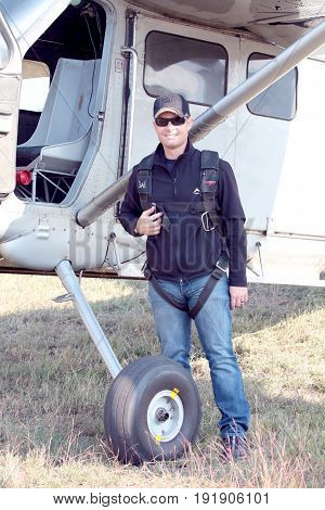 Pilot Standing Next To His X328 Atlas Angel Turbine Specially Equipped Aircraft For Sky Divers
