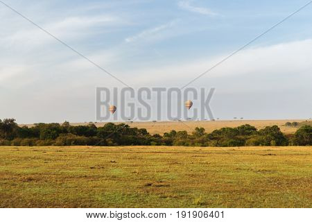 nature, landscape and wildlife concept - view to air balloons flying above maasai mara national reserve savanna at africa