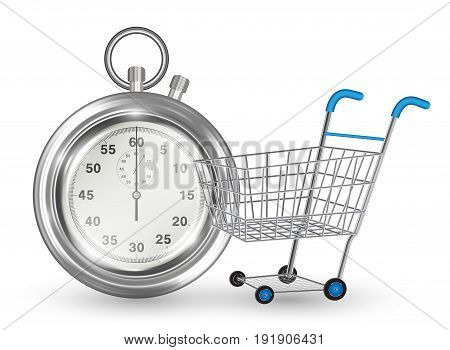 stopwatch empty shopping cart on white background
